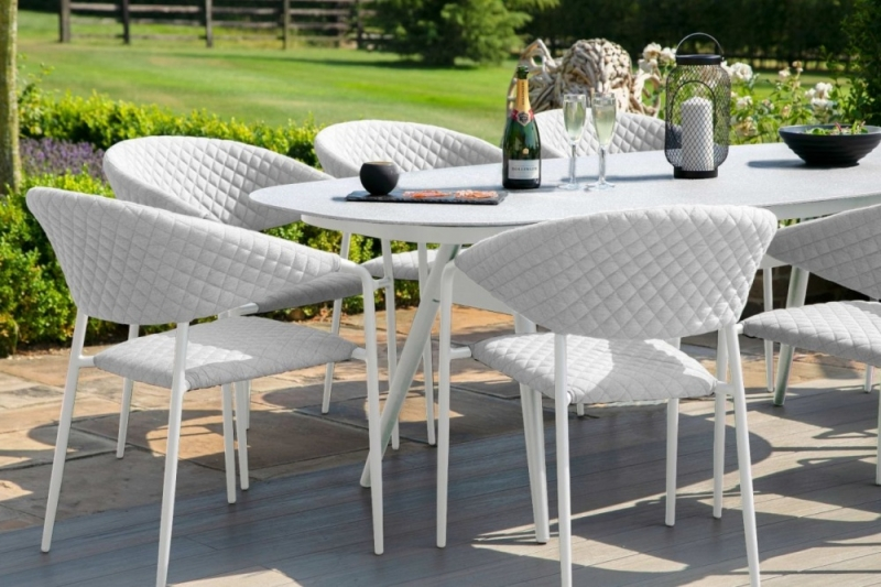 Maze Lounge Outdoor Pebble Lead Chine Fabric 8 Seat Oval Dining Set