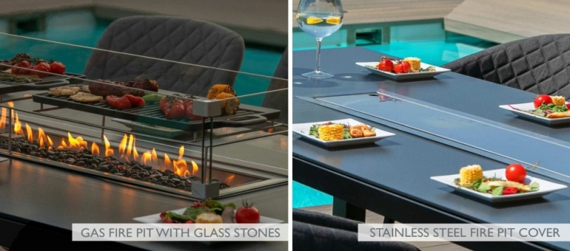 Maze Lounge Outdoor Pebble Flanelle Fabric 8 Seat Rectangular Dining Set with Fire Pit Table