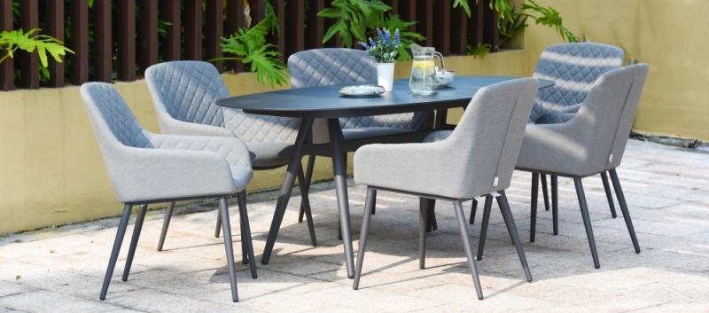 Maze Lounge Outdoor Zest Flanelle Fabric 6 Seat Oval Dining Set