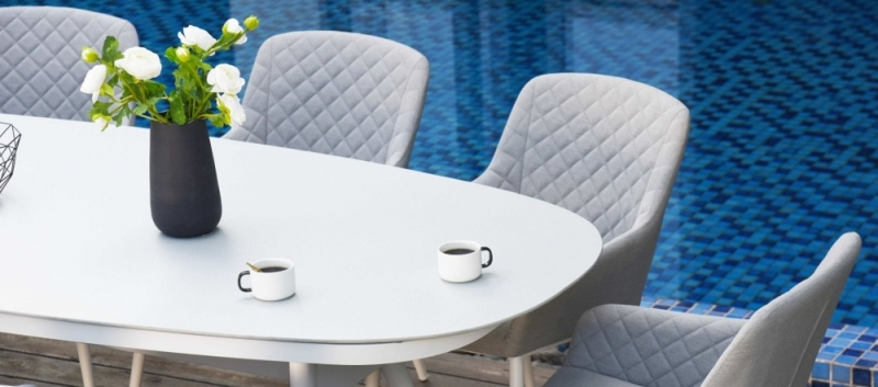 Maze Lounge Outdoor Zest Lead Chine Fabric 8 Seat Oval Dining Set