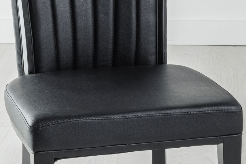 Set of 10 Cadiz Black Faux Leather Dining Chair