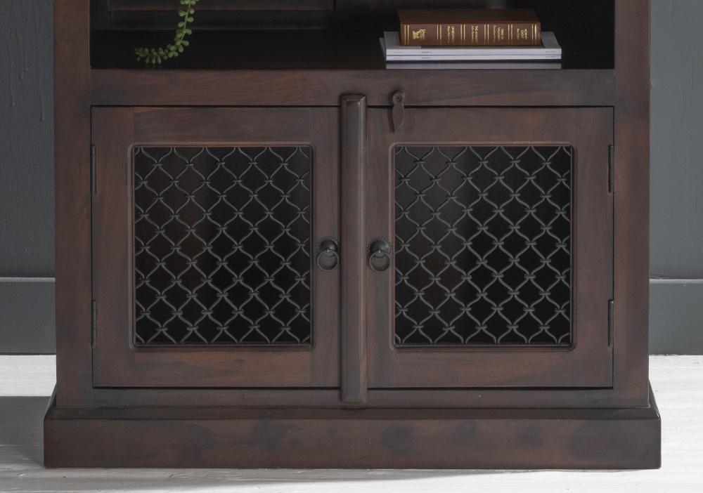 Iron Jali Indian Sheesham Wood Bookcase with Cupboard