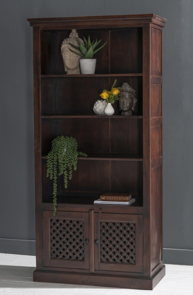 Jali Indian Sheesham Wood Bookcase with Cupboard