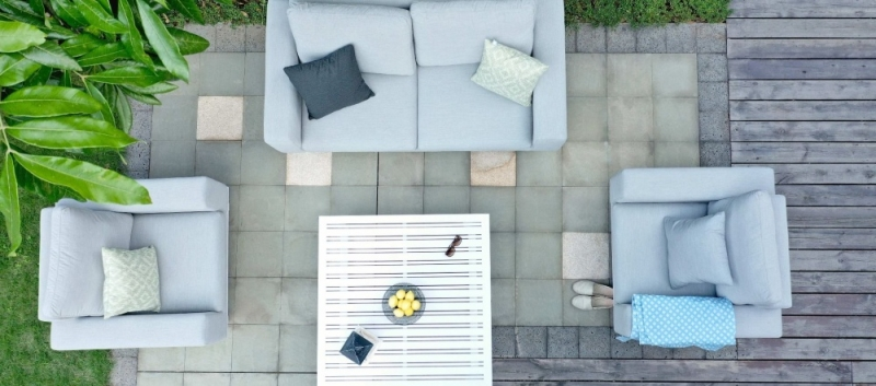 Maze Lounge Outdoor Ethos Lead Chine Fabric 2 Seat Sofa Set with Coffee Table