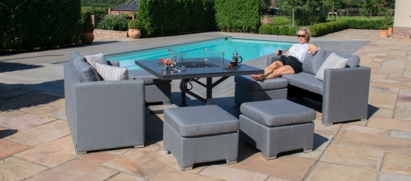 Maze Lounge Outdoor Fuzion Flanelle Fabric Cube Sofa Set with Fire Pit
