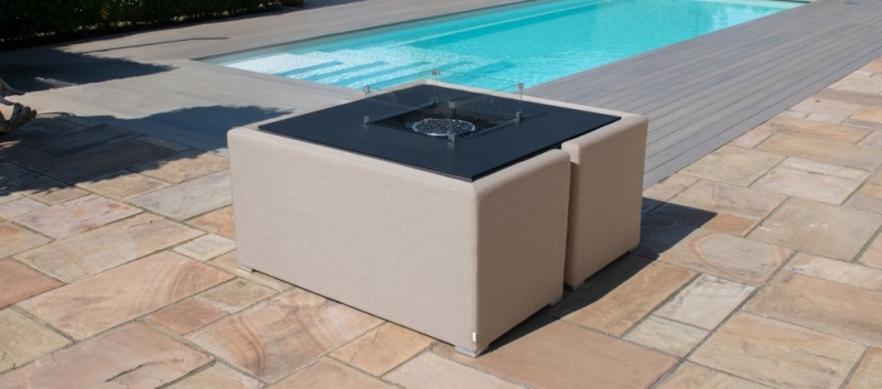 Maze Lounge Outdoor Fuzion Taupe Fabric Cube Sofa Set with Fire Pit
