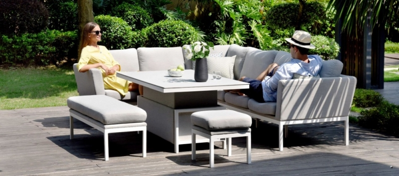 Maze Lounge Outdoor Pulse Lead Chine Fabric Rectangular Corner Dining Set with Rising Table
