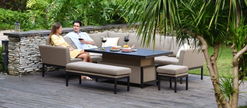 Maze Lounge Outdoor Pulse Taupe Fabric Rectangular Corner Dining Set with Rising Table
