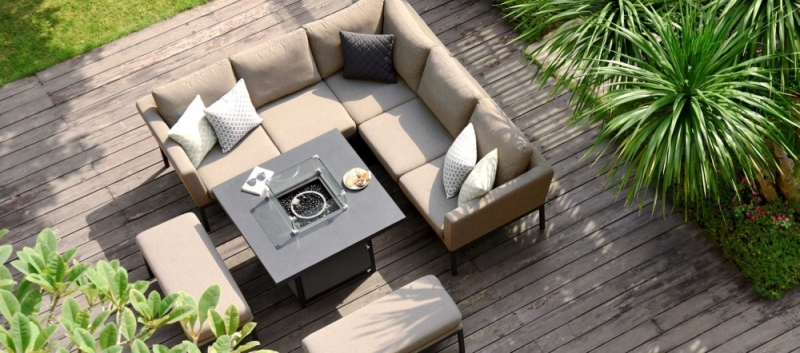 Maze Lounge Outdoor Pulse Taupe Fabric Square Corner Dining Set with Fire Pit Table