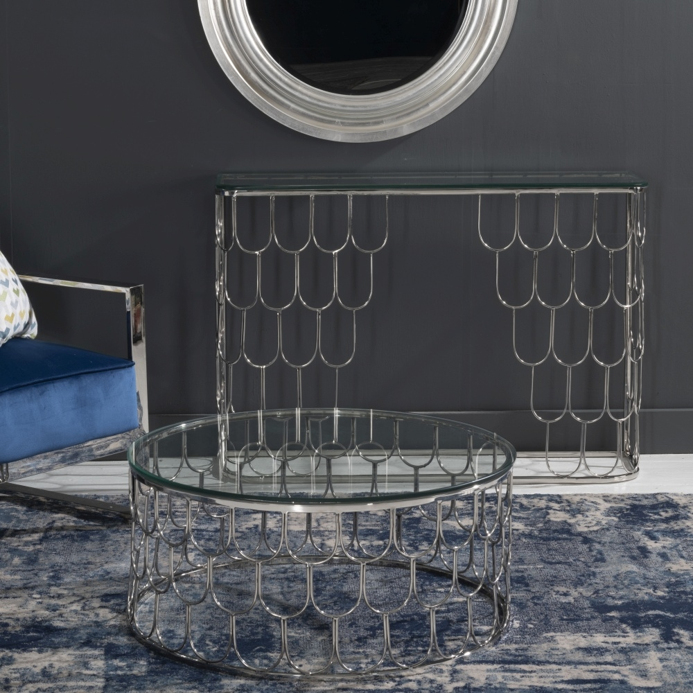 Riviera Stainless Steel Chrome Round Glass Top Coffee Table