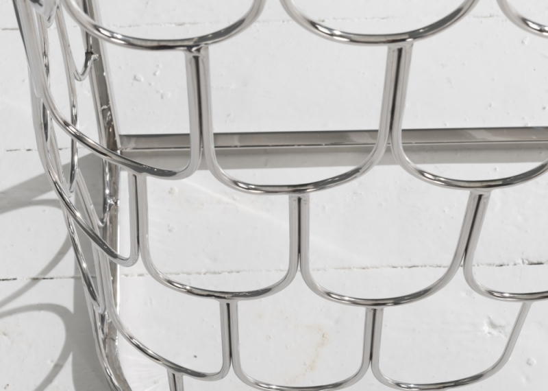 Riviera Stainless Steel Chrome Round Glass Top Side Table