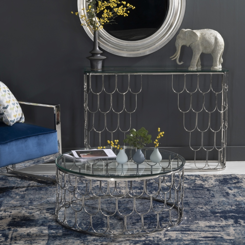 Riviera Stainless Steel Chrome Glass Top Console Table