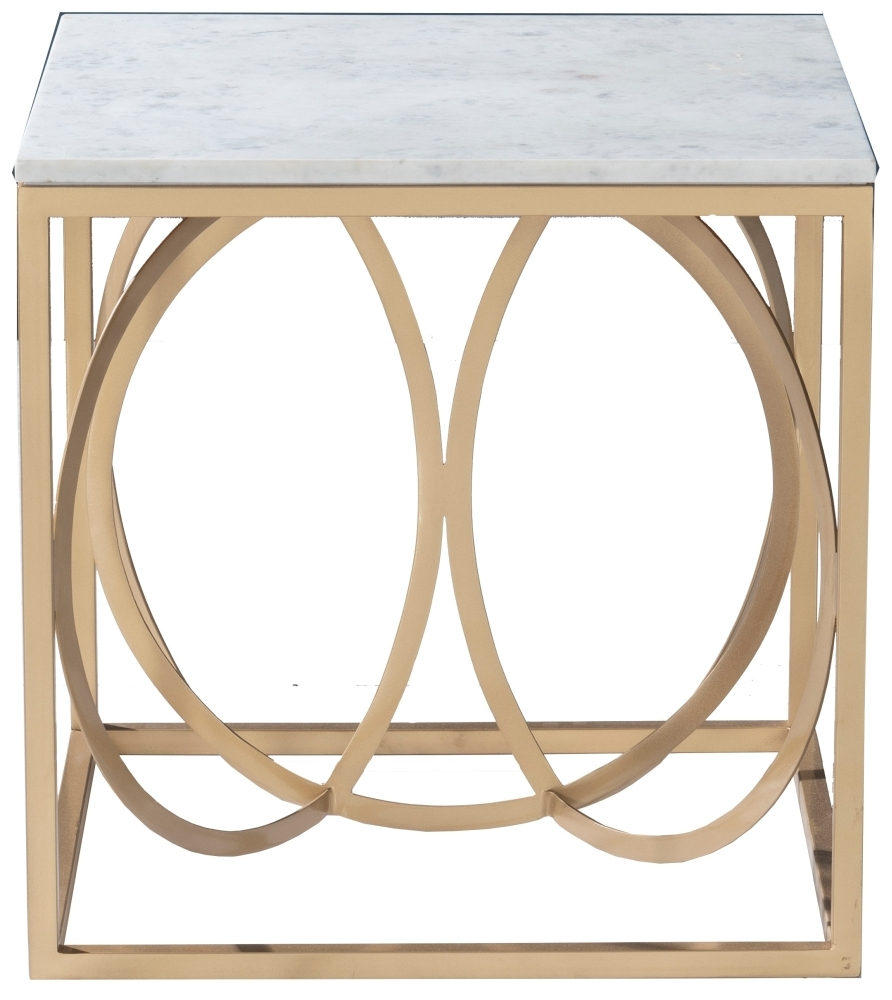 Olympia Brushed Gold and White Marble Square Side Table