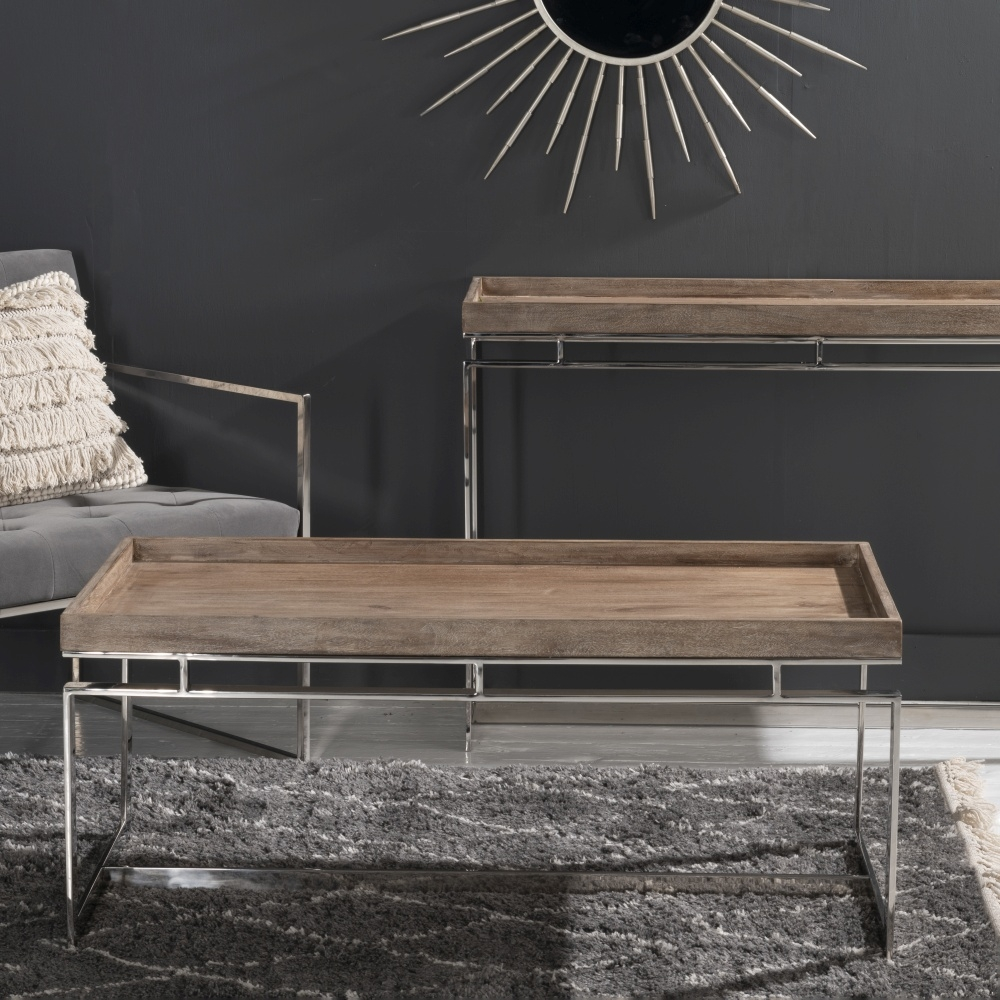 Daly Washed Mango Wood and Chrome Coffee Table