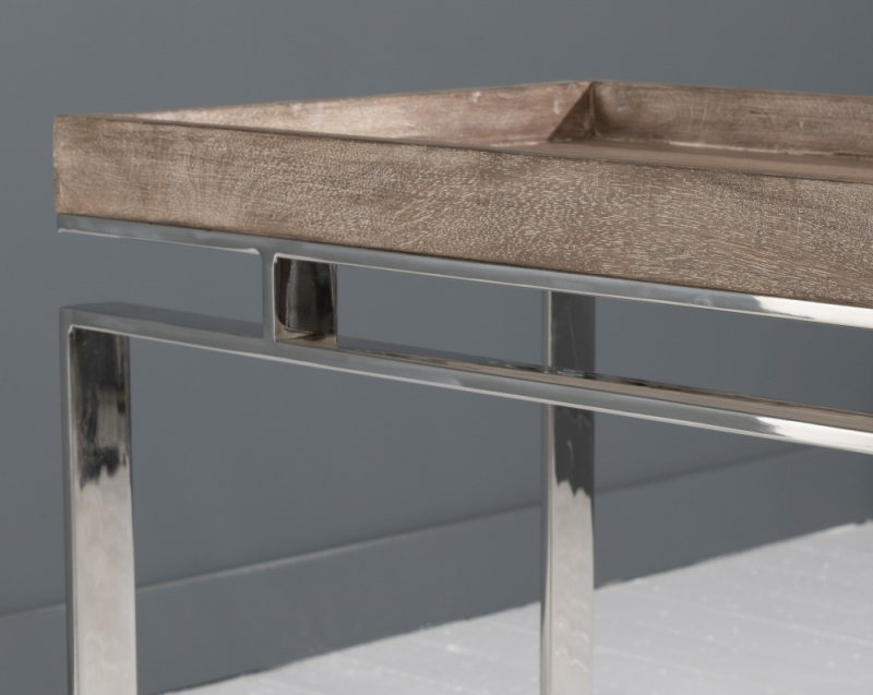Daly Washed Mango Wood and Chrome Square Side Table