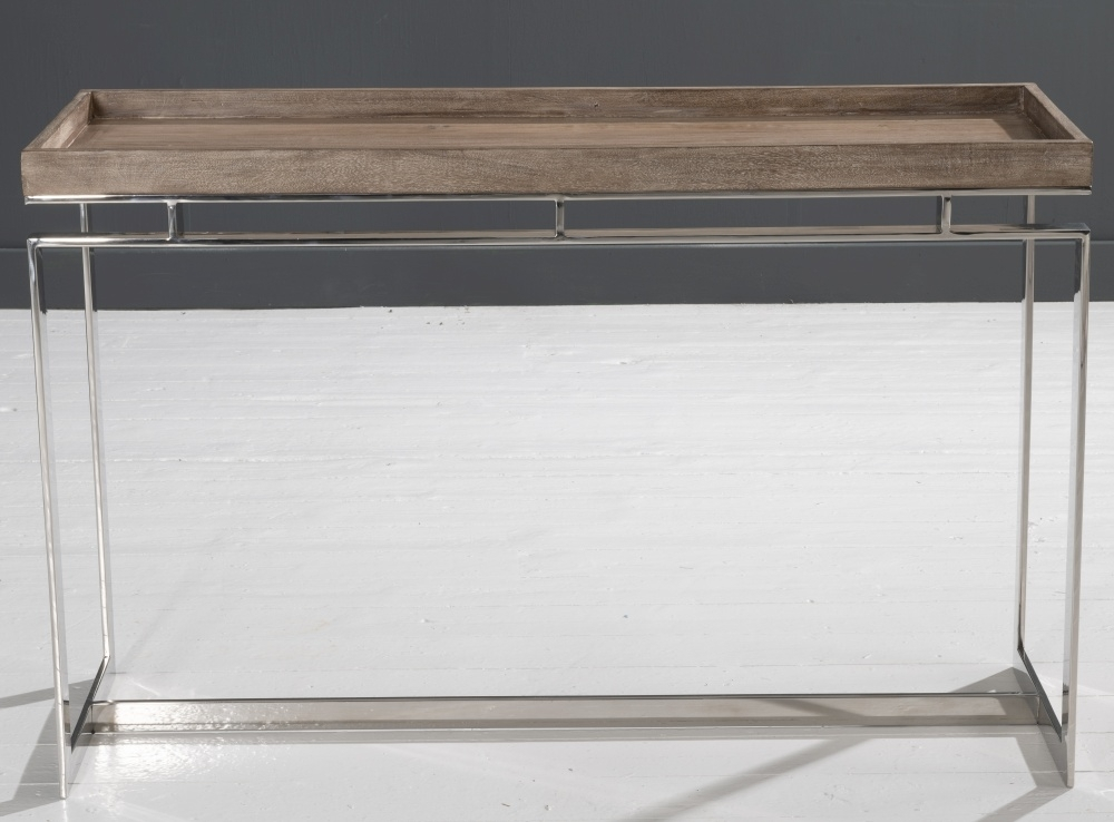 Daly Washed Mango Wood and Chrome Console Table