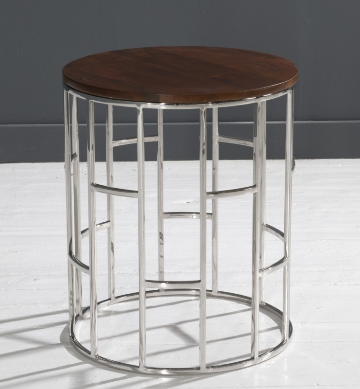 Zion Stainless Steel Chrome Round Wooden Top Side Table
