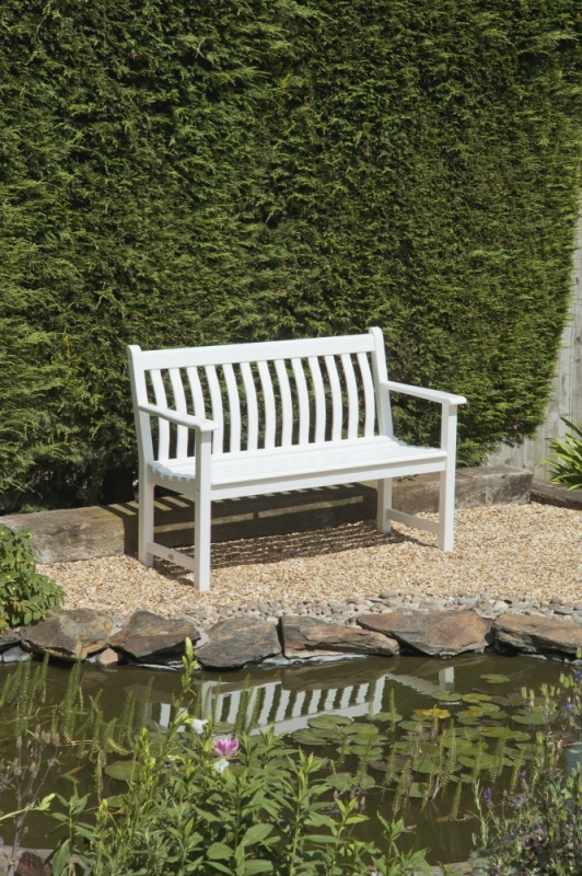 Alexander Rose New England White Painted Broadfield Bench 4ft