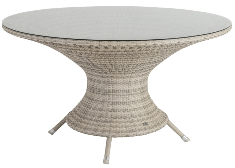 Alexander Rose Ocean Pearl Wave 130cm Round Dining Table with Glass