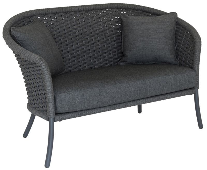 Alexander Rose Cordial Grey Rope Curved Top 2 Seater Sofa with Cushion