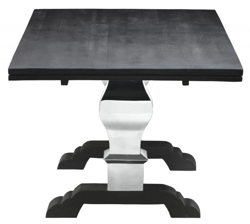 Urban Deco Geo 220cm Black and Stainless Steel Chrome Base Dining Table