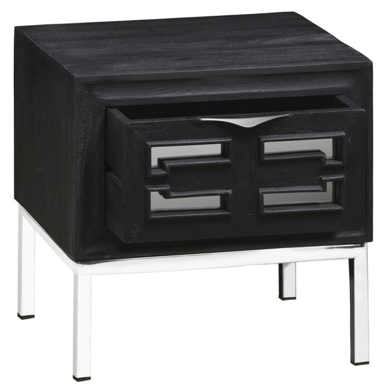 Urban Deco Geo Black Mirrored and Stainless Steel Chrome Base Side Table
