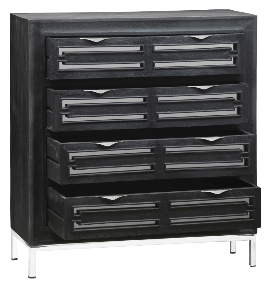 Urban Deco Geo Black Mirrored and Stainless Steel Chrome Base 4 Drawer Tall Boy Chest