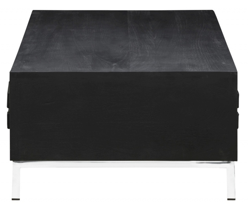Urban Deco Geo Black Mirrored and Stainless Steel Chrome Base Coffee Table