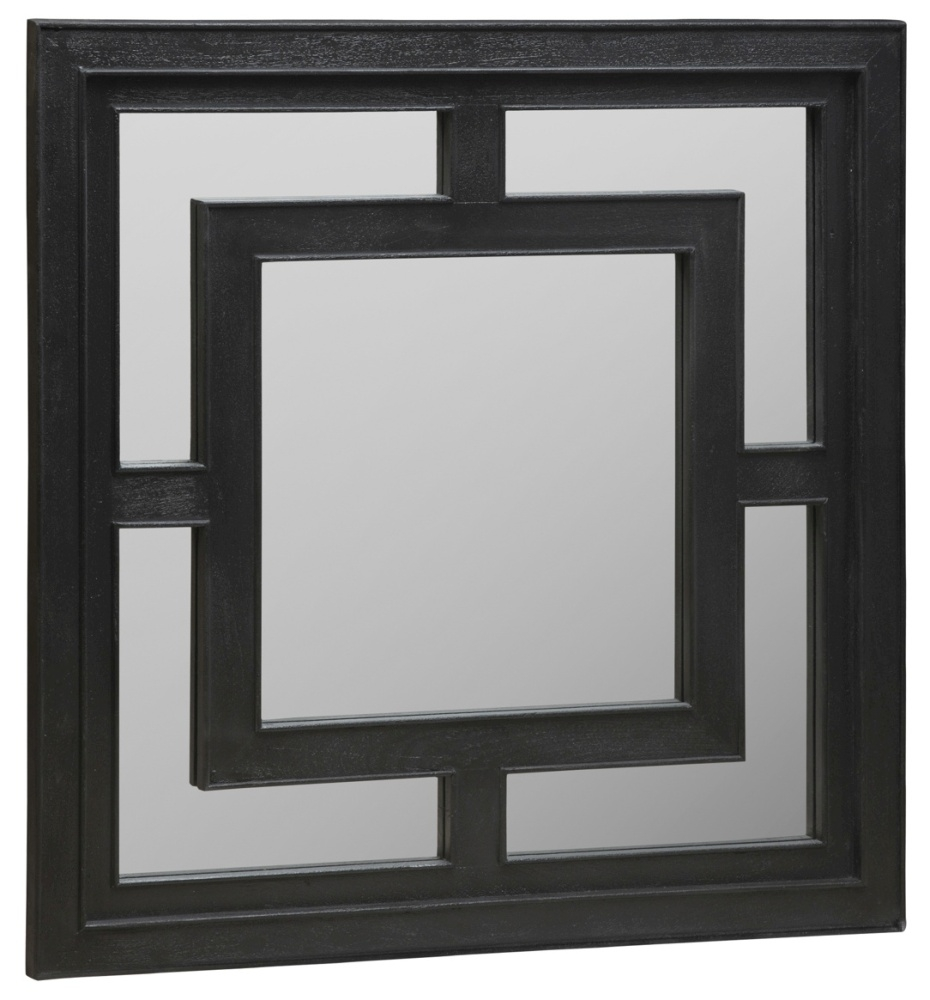 Urban Deco Geo Black Square Wall Mirror - 120cm x 120cm