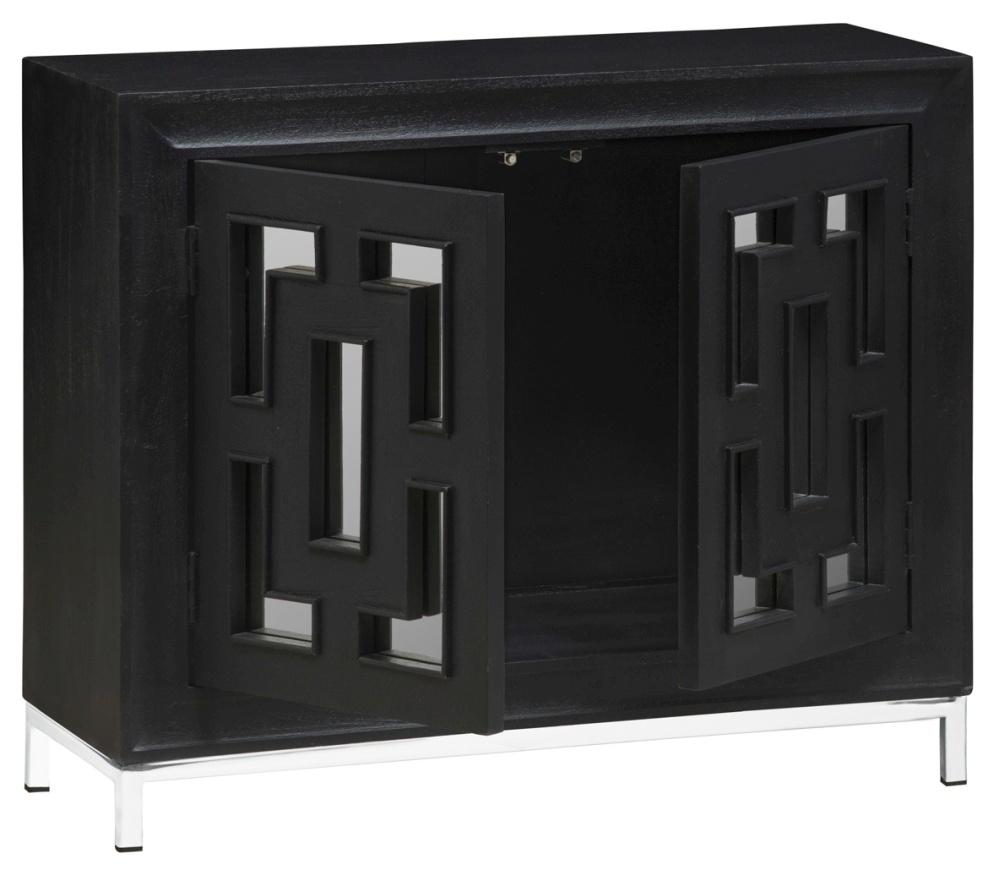 Urban Deco Geo Black Mirrored and Stainless Steel Chrome Base 2 Door Sideboard