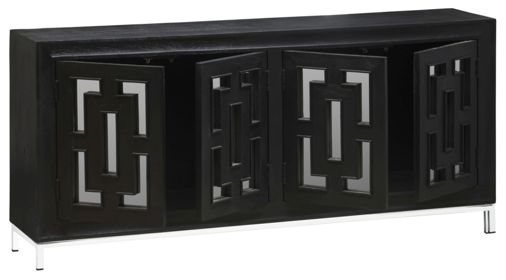 Urban Deco Geo Black Mirrored and Stainless Steel Chrome Base 4 Door Sideboard