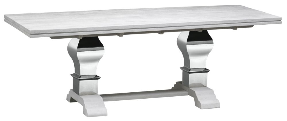 Urban Deco Geo 220cm White and Stainless Steel Chrome Base Dining Table