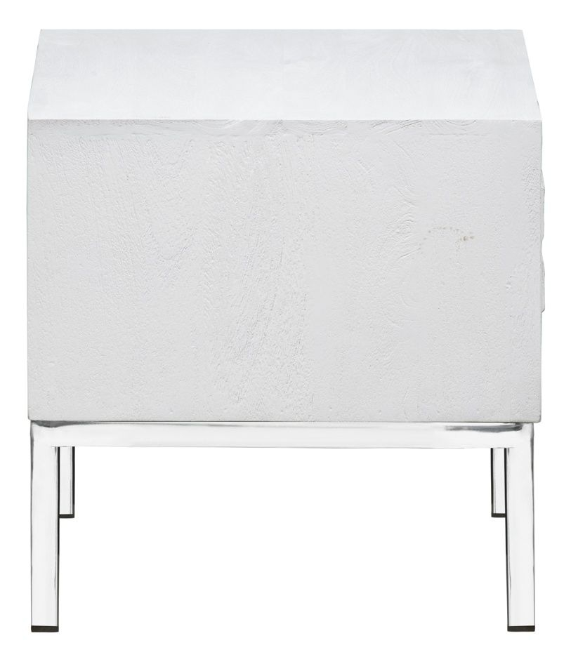 Urban Deco Geo White Mirrored and Stainless Steel Chrome Base Side Table