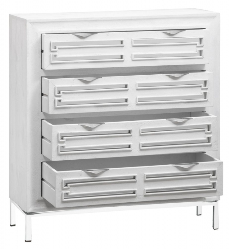 Urban Deco Geo White Mirrored and Stainless Steel Chrome Base 4 Drawer Tall Boy Chest