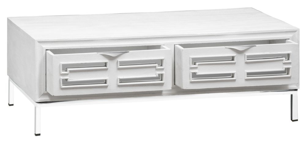 Urban Deco Geo White Mirrored and Stainless Steel Chrome Base Coffee Table