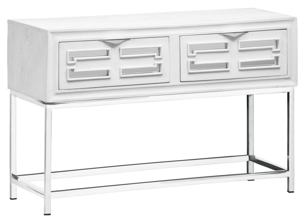 Urban Deco Geo White Mirrored and Stainless Steel Chrome Base Console Table