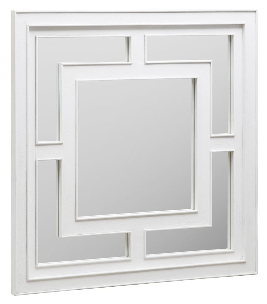 Urban Deco Geo White Square Wall Mirror - 120cm x 120cm