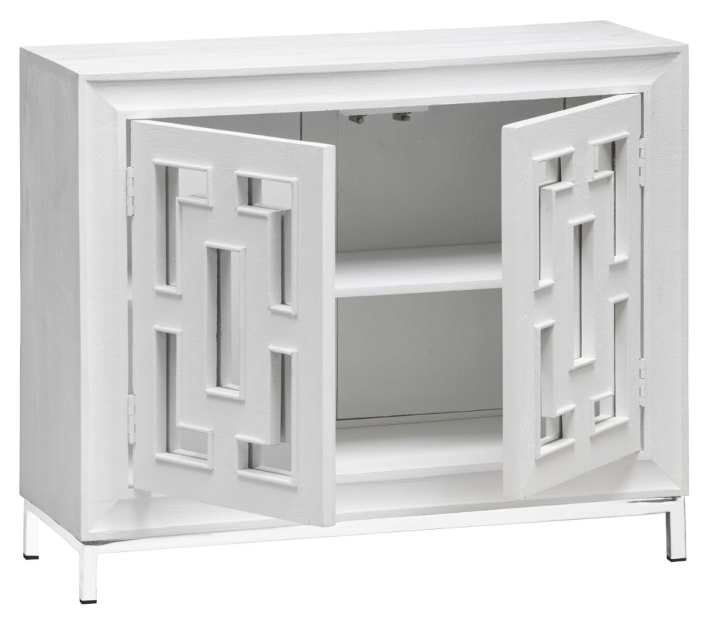 Urban Deco Geo White Mirrored and Stainless Steel Chrome Base 2 Door Sideboard