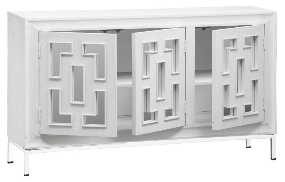 Urban Deco Geo White Mirrored and Stainless Steel Chrome Base 3 Door Sideboard