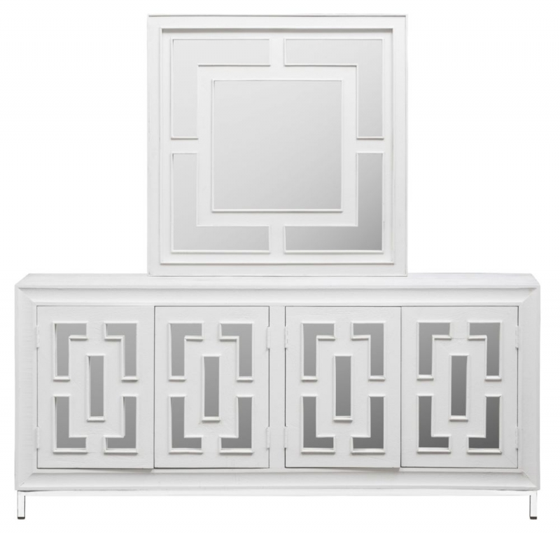 Urban Deco Geo White Mirrored and Stainless Steel Chrome Base 4 Door Sideboard