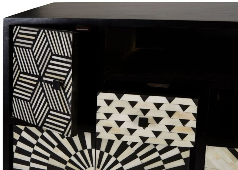 Esher Black Bone Inlay Multi Drawer Cabinet