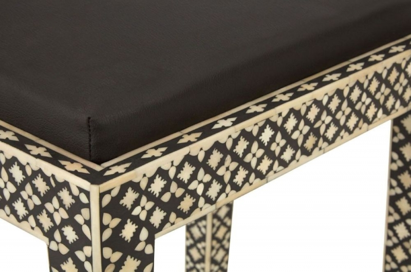 Esher Black and Cream Mother of Pearl Stool