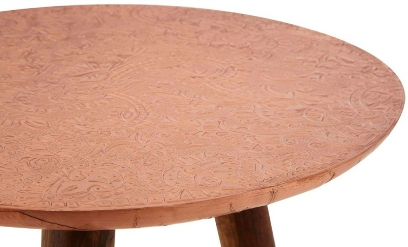 Esher Copper Carve Round Side Table