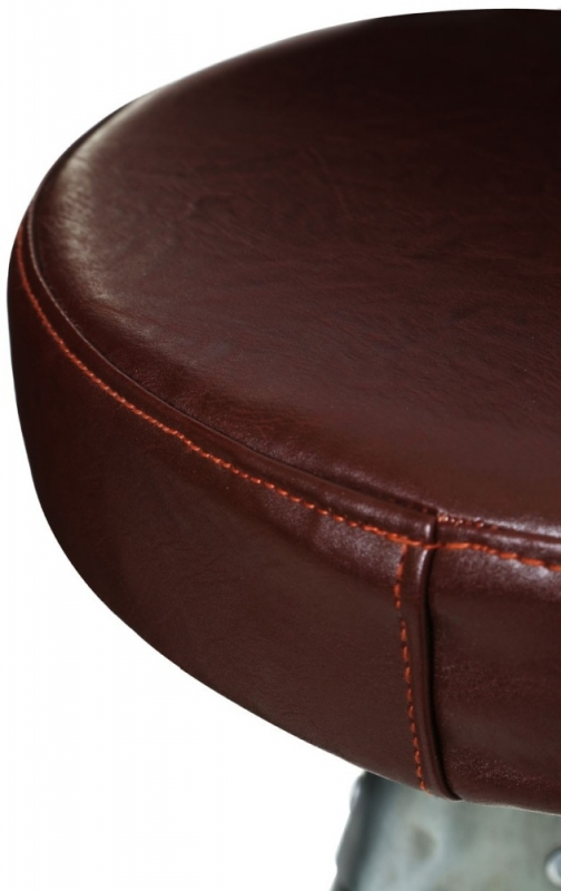 Chalfont Aluminium and Brown Leather Stool