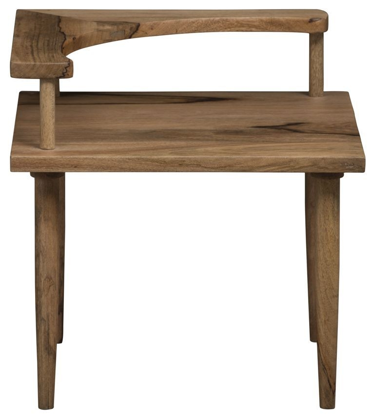 Mid Century Rustic Solid Light Mango Wood Side Table with Telephone Shelf