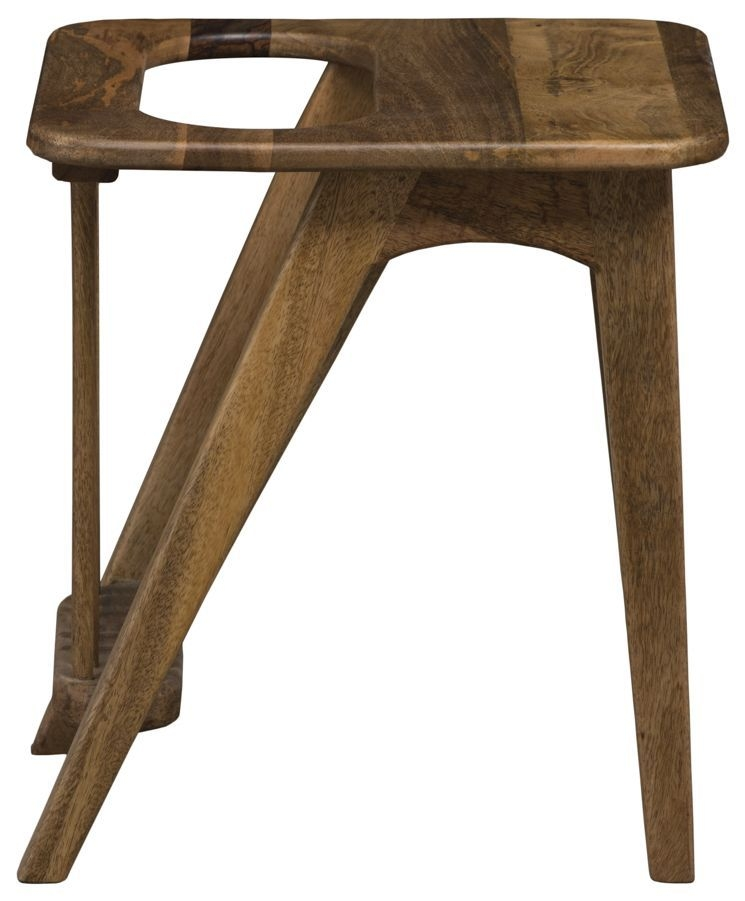 Mid Century Rustic Solid Light Mango Wood Side Table with Magazine Rack