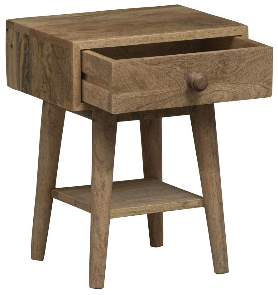 Mid Century Rustic Solid Light Mango Wood Side Table with 1 Drawer
