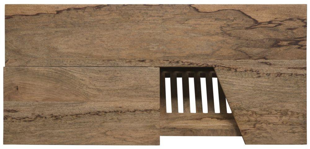 Mid Century Rustic Solid Light Mango Wood Coffee Table with Magazine Rack