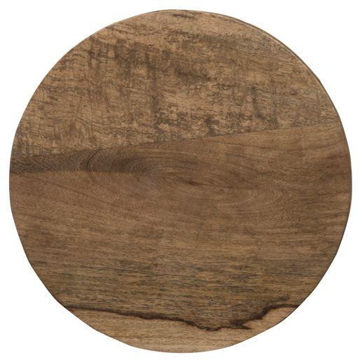 Mid Century Rustic Solid Light Mango Wood Round Stool