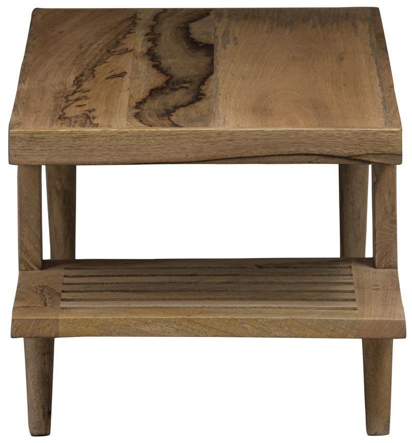 Mid Century Rustic Solid Light Mango Wood Coffee Table with Half Shelf